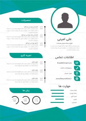 قالب رزومه کاری فارسی طرح گرافیکی کد 221